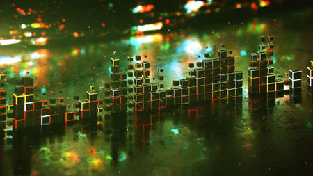 Glowing Level meter music equalizer and glitching background. Futuristic technology design. 3D rendering illustration with DOF