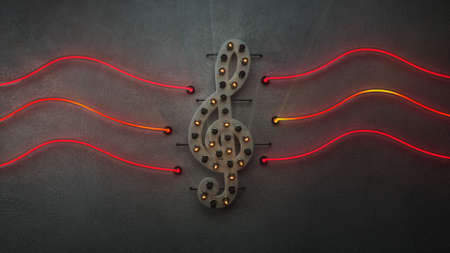 Illuminated treble clef symbol with flickering neon light tubes. Music or party concept. 3D render  Banco de Imagens