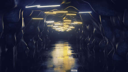 Empty corridor with fluorescent lamps. Abstract modern technology concept. 3D rendering