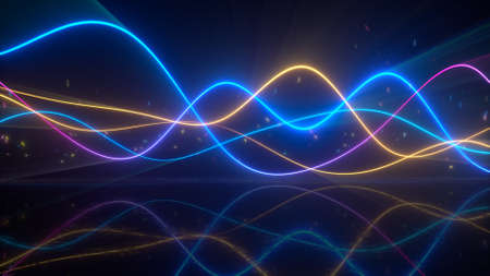 Smooth wavy colorful glowing curves. Oscillating audiowaves with reflection. 3D render illustration