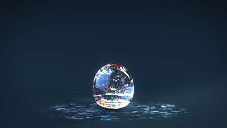 Glass sphere with glitching digital noise texture. 3D render illustration