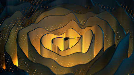 Yellow curved rings. Abstract modern background. 3D render illustration Stok Fotoğraf