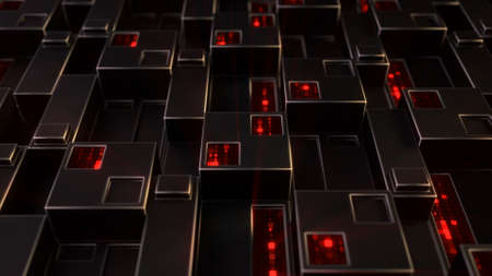 Sci-fi wall panel with glowing red digital data. Futuristic technology concept. 3D render Stok Fotoğraf