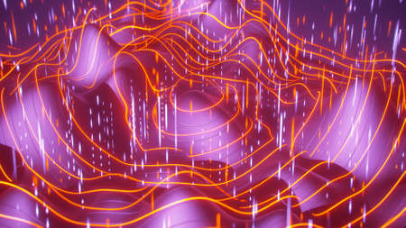 Waveforms and big data streams. Futuristic science fiction cosmic design. 3D rendering illustration 写真素材