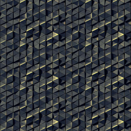 Seamless pattern of black triangles. Abstract geometric tileable background. 3D render illustration