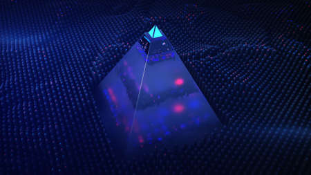 Electronic pyramid and scanning. Information safety concept. 3D render illustration with depth of field