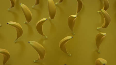 Group of yellow bananas. 3D render