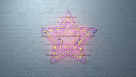 Colorful glow neon star symbols on white brick wall. Nightlife entertainment concept. 3D render illustration 免版税图像