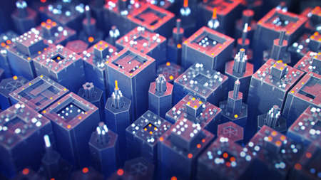Flying over blue and red industrial microworld. Futuristic technical machinery. 3D render illustration with depth of field