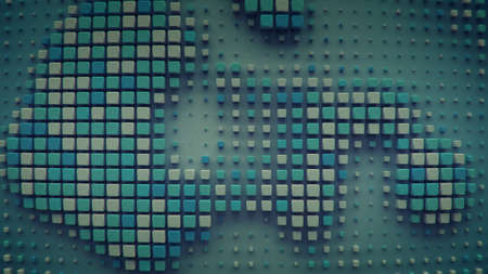Cubes on a plane. 3D render
