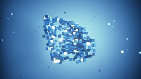 Chaotic flying blue cubes. Cubic shape in free space. 3D rendering