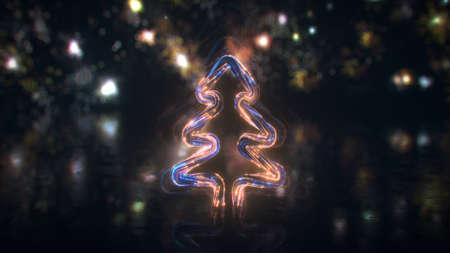 Cyberpunk christmas tree and fireworks. 3D rendering 免版税图像