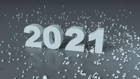 Transition from 2020 to 2021. New year celebration. 3D render illustration