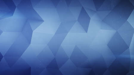 Chaotic blue polygonal rough surface. Abstract geometric background. 3D render illustration