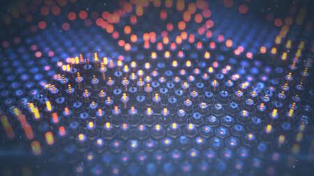 Futuristic technology three dimensional array. 3D rendering illustration with DOF 免版税图像 - 157330976