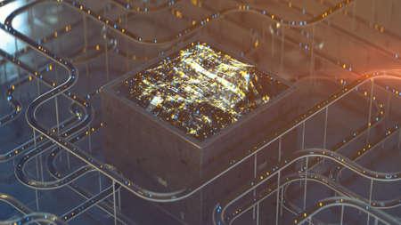 Futuristic electric device processing signals. Sci-fi or futuristic technology design. 3D render with DOF