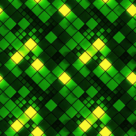Seamless pattern of green concrete and glowing cubes. Computer generated tileable background. Abstract 3D render