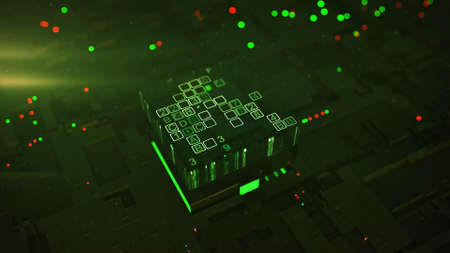 Microprocessor is encoding digital code. Processing and analysis big data concept. 3D rendering illustration with DOF 免版税图像