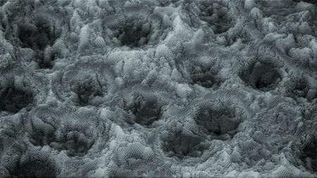 Voxel topographic structure. 3D rendering
