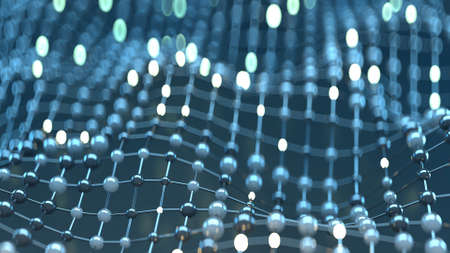 Floating mesh of network. Abstract 3D render illustration with shallow depth of field