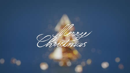 Merry christmas handwritten greetings and blurred tree on background. 3D render illustration