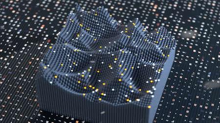Digital quantum equalizer. Three dimensional wave vibrations. 3D rendering with DOF and bokeh lights Standard-Bild