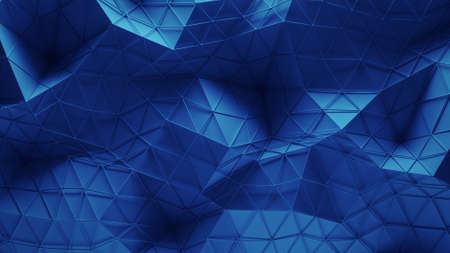 Blue polygonal geometric surface. Computer generated abstract background. 3D render illustration