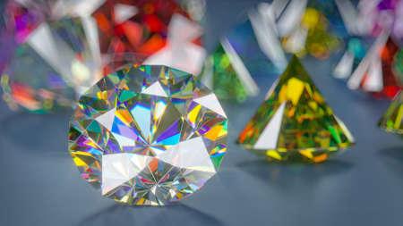 Colorful brilliant diamonds. Scattered luxury gemstones. 3D render