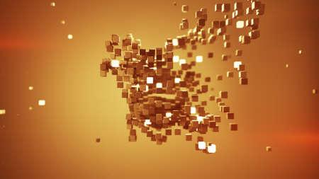 Shape of orange cubic particles. Abstract futuristic technology concept. 3D render illustration Standard-Bild
