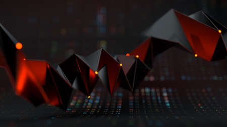 Futuristic faceted shape. Abstract sci-fi technology design. 3D rendering illustration