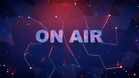 ON AIR text on low poly surface. Broadcast media illustration. 3D rendering