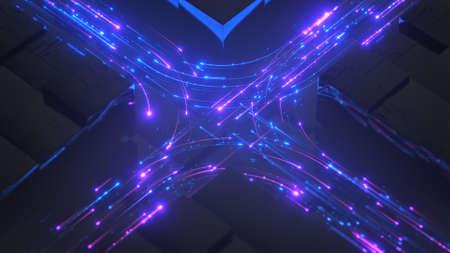 Blue and pink neon streams. Digital information transferring in cyberspace. 3D render Standard-Bild