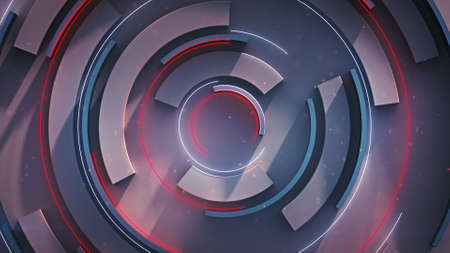 Rotating circle elements. Computer generated abstract background. 3D rendering illustration