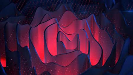 Red and blue wavy specular forms rippled. Furutistic background. 3D rendering illustration Standard-Bild