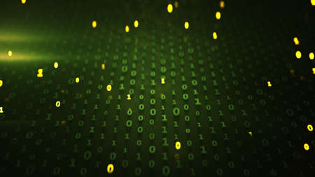 Binary code matrix with glowing green symbols. Information technology, computer science or internet security concept. 3D render