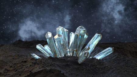 Gemstones minerals crystal cluster 3D render