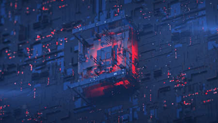 Red central processing unit on blue board. Science fiction or futuristic technology design. 3D rendering illustration with depth of field Standard-Bild