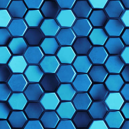 Seamless pattern of blue concrete hexagon cells. Computer generated tileable background. Abstract 3D rendering illustration Standard-Bild
