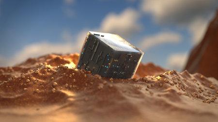 Sci-fi technology cube on land. 3D render illustration