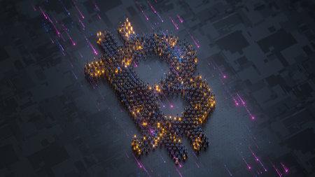 Digital currency bitcoin. 3D render illustration