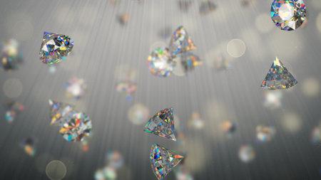 Shining brilliant diamonds in light rays. 3D render