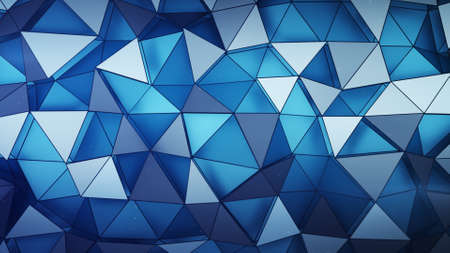 Layered chaotic blue polygonal surface. Abstract geometric background. 3D render illustration