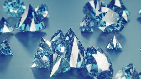 Blue sapphire gemstones. 3D render illustration