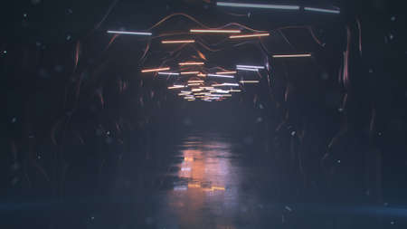 Deserted foggy tunnel with blinking fluorescent lamps and ashes in the air. Postapokalipsis concept. 3D render illustration