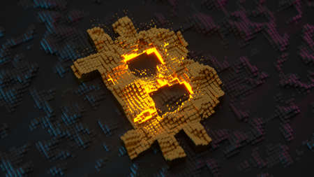 Bitcoin digital cryptocurrency pixelated symbol. 3D render animation