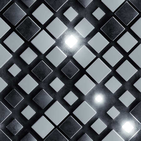 Seamless pattern of black concrete and illuminating cubes. Computer generated tileable background. Abstract 3D render