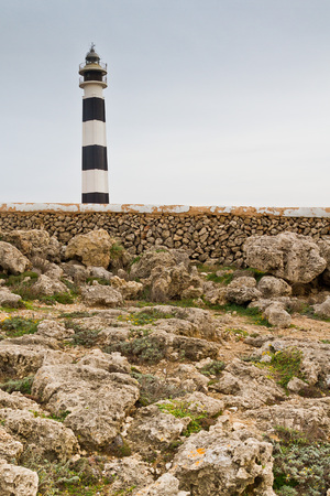 menorca: Lighthouse of Artrutx piont, one of the most famous and picturesque buildings of Menorca, Spain Stock Photo