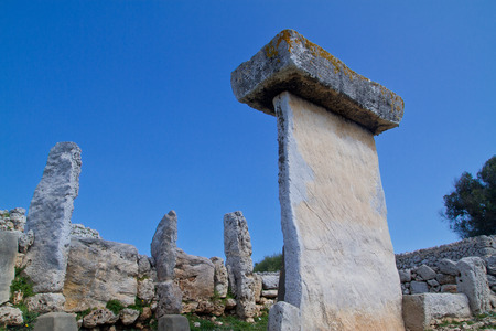 prehistorical: Taula talaiotica a megalithic construction of the prehistoric talaiotic culture from Menorca, balearic islands, Spain Stock Photo