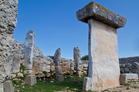 menorca: Taula talaiotica a megalithic construction of the prehistoric talaiotic culture from Menorca, balearic islands, Spain Stock Photo