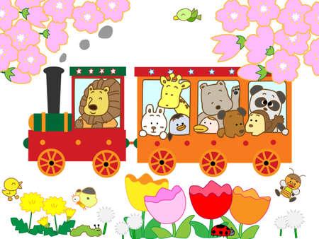 Spring fairy tale train Vector